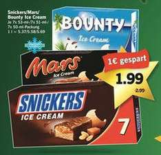 [LIDL] Snickers, Mars, Bounty Ice Cream Riegel (7er FamilyPack) für 1,99€ ab Donnerstag 18.12