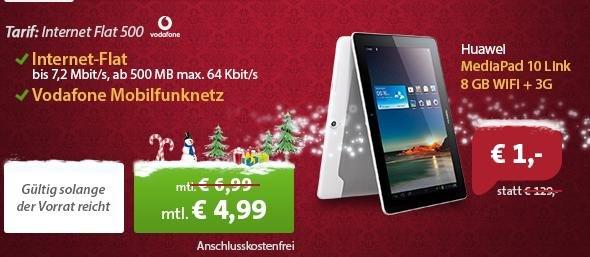 Huawei MediaPad 10 Link 8GB WiFi+3G mit Mobilcom-Debitel (Vodafone) 500MB + Flat zu D2 ODER MD (Telekom) 3GB LTE + HotspotFlat für 240,76€ @Sparhandy