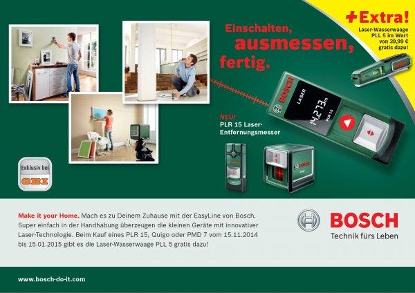 Gratis Bosch-Laserwasserwaage PLL5 bei OBI zu PLR 15, Quigo oder PMD 7