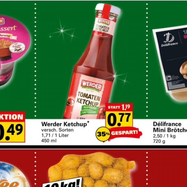 [Bundesweit] [Netto mit schwarzem Hund] nur am 17.12.14 Werder Ketchup die 450g Flasche für 0,77€