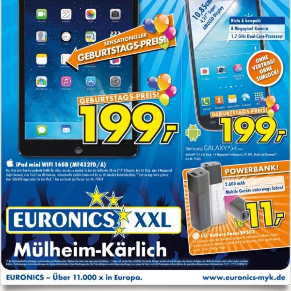 iPad mini, Galaxy S4 mini, LG Powerbank 2600mAh @Euronics XXL Mülheim-Kärlich
