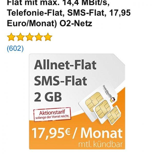 DeutschlandSIM Flat L 2000 [SIM, Micro-SIM und Nano-SIM] monatlich kündbar (2 GB Daten-Flat mit max. 14,4 MBit/s, Telefonie-Flat, SMS-Flat, 17,95 Euro/Monat) O2-Netz