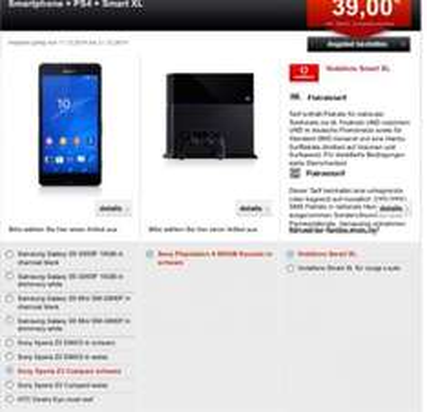 Sony Xperia Z3 Compact+PlayStation 4+Vodafone Smart XL Allnet-Flat 39,99€/Monat(+einmalig39€)