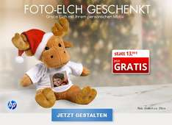 Gratis Foto-Elch Kuscheltier mit persönlichem Aufdruck, kostenlos statt 13,99