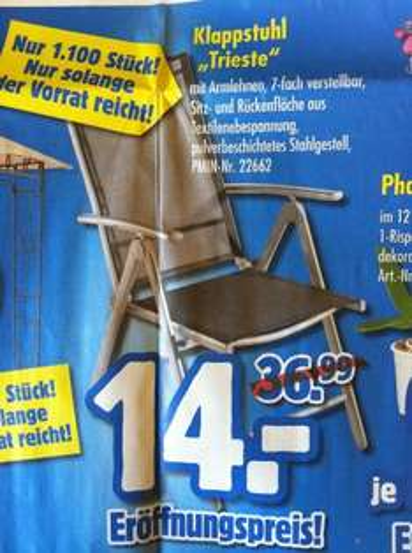 Lokal 51645 - Klappstuhl 7-fach verstellbar - am 26.09. 7Uhr bei Praktiker für 14,- €