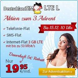Adventsaktionbei Deutschlandsim. Bis 15.12.: Allnet- & SMS-Flat mit 3 GB LTE – Nur 19,95€ mtl