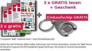 Stiftung Warentest 3x gratis lesen + Einkaufswagenchip - Kündigung notwendig (jedereit möglich)
