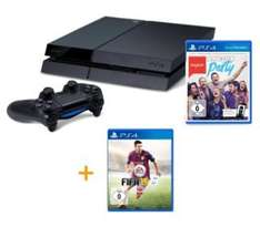 (Amazon.de) Playstation 4 in schwarz inkl. SingStar Ultimate Party + Fifa 15 sowie 35€ Playstation Store Guthaben für 399€