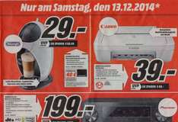 [lokal Hamburg] Delonghi, Canon Drucker, Pioneer Receiver u.a bei Media Markt