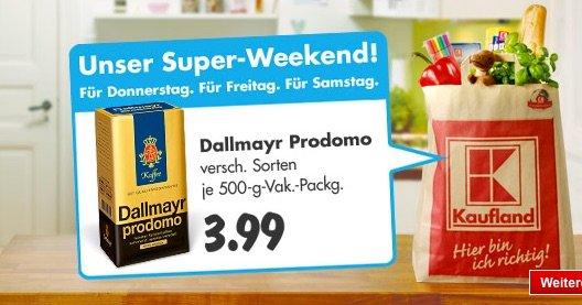 KAUFLAND: Dallmayr Prodomo - verschieden Sorten - 500 g. Filterkaffee je 3,99 Euro (38% günstiger - UVP 6,49 Euro)