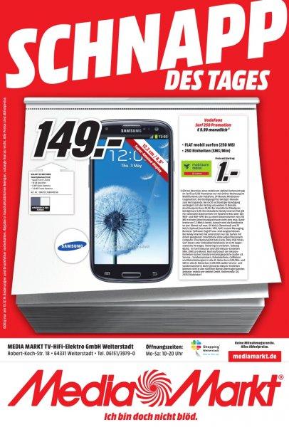 Lokal Media Markt Weiterstadt: Vodafone Surf 250 für 9,99 € monatl. inkl. Samsung S3 Neo für 1 €