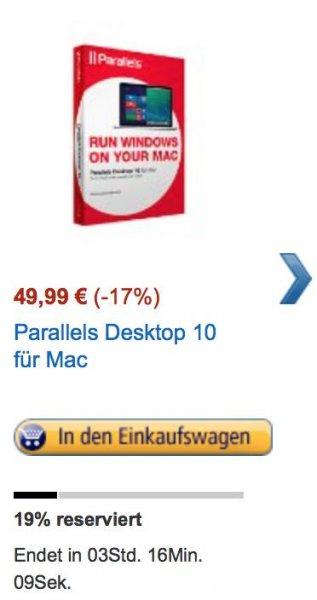 Parallels Desktop für 49,99 EUR bei Amazon Blitz Angeboten