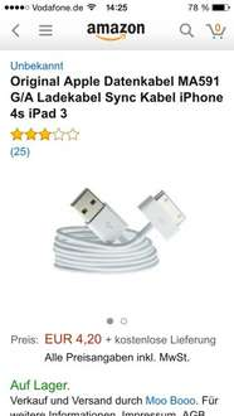 (Amazon) Original iphone 4 Ladekabel für 4,20€ inkl Versand