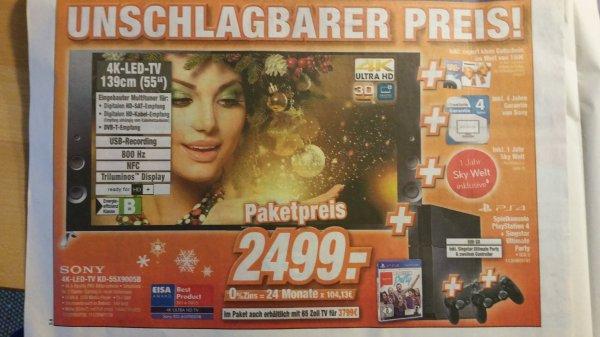 [Expert klein] Sony KD-55X9005B + 1 Jahr Sky Welt + 100€ Gutschein + PS4 Singstar Bundle