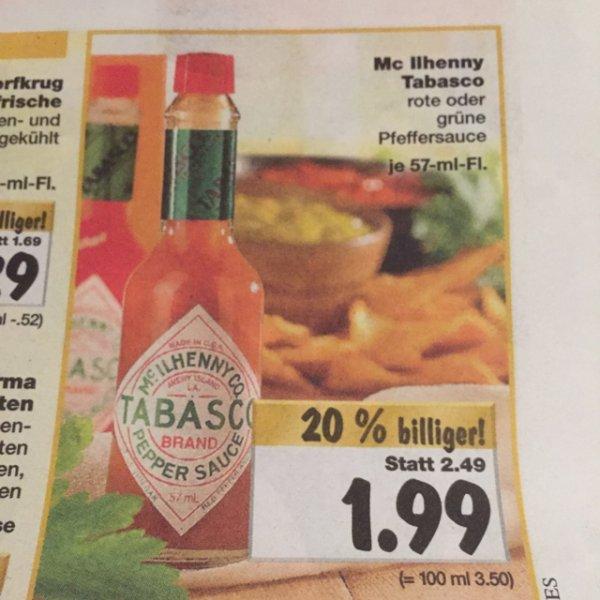 1,99€ Tabasco rot oder grün 57ml [Kaufland] ab 15.12