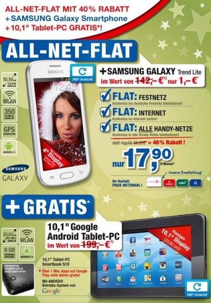 """All-Net-Flat mit 40% Rabatt + Samsung Galaxy + 10,1"""" Tablet-PC Gratis"""