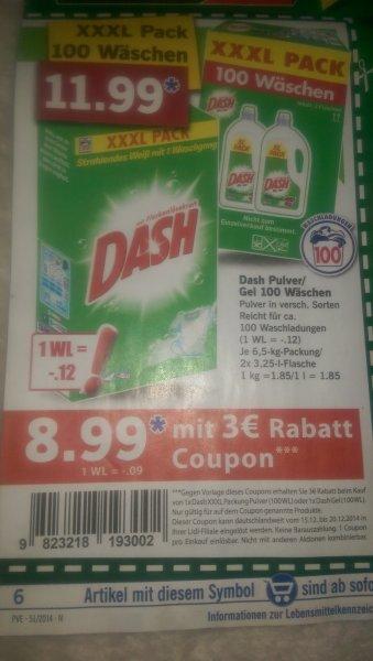 Dash, XXXL, 100 Wäschen für 8,99€ mit Coupon