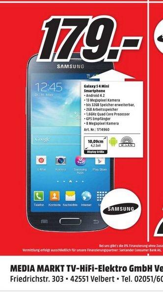 Samsung Galaxy S4 Mini für 179€,LG G3 16GB für 299€ [LOKAL] @MediaMarkt Velbert