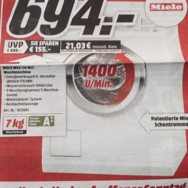 Miele WDA 110WCS Waschmaschine 694€ [Media Markt Eschweiler] Amazon:794€