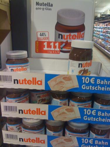 [offline Kaisers Tengelmann] Nutella mit 10,- EUR Bahn-Gutschein