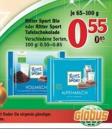 [LOKAL Globus Dutenhofen] Ritter Sport (auch Bio) für 0,55€
