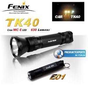 Fenix Set bestehen aus 2 LED-Taschenlampen TK40 und E01 @iBood.de für 85,90€