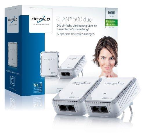 devolo dLAN 500 duo Starter Kit (500 Mbit/s, 2 Adapter, 2 LAN Ports, Kompaktgehäuse, Powerline) weiß