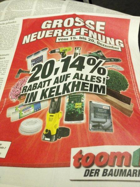 (lokal+ offline) Neueröffnung Toom Baumarkt in Kelkheim 20,14% auf alles