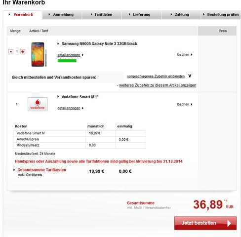 Galaxy Note 3 + Vodafone Smart M mit einmaliger Zuzahlung 36,89€