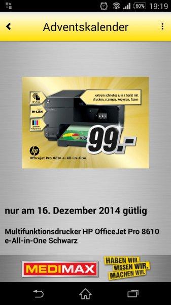 MediMax Gera HP Officejet Pro 8610 AiO Tintenstrahldrucker für 99,- Euro ** Nur am 16.12.14 **