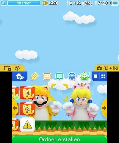 Katzen-Mario-Show-Design für Nintendo 3DS