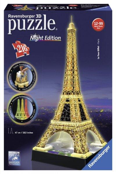Ravensburger 12579 - Eiffelturm bei Nacht - 216 Teile 3D-Puzzle-Bauwerk Night Edition für 19,99 Euro @Amazon.de (Prime)