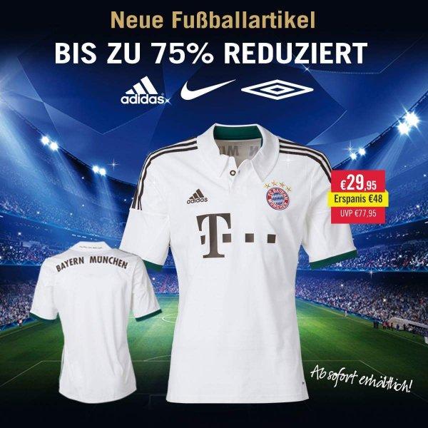 Viele Fußballartikel bis zu 75% (z.B. FC Bayern oder Nürnberg Trikot) @MandMdirect.de