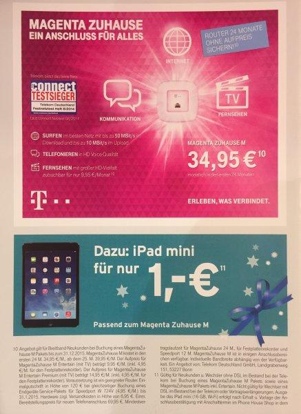 [Lokal Hamburg Karstadt Harburg] Telekom Magenta Zuhause M Friends (Junge Leute bis 25 bzw. Studenten/Azubis bis 29 Jahre) – 50 Mbit/s Download & 10 Mbit/s Upload + iPad mini für einmalig 1,-€ + 50€ Karstadt Gutschein - 29,95€/Monat – Für Normalos 1.