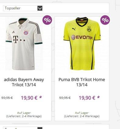 Sportoutlet: Bayern, Dortmund (je 19,90€) , Barcelona (24,90€) Trikot und Deutschland Shirt (7,99) je zum Bestpreis