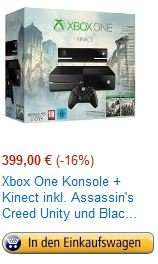 Bis 23:00Uhr Amazon Blitzangebot - Xbox One Konsole + Kinect + AC Black Flag + AC Unity 399€