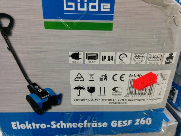KAUFLAND - Güde Elektro-Schneefräse GESF 260 für 17,99