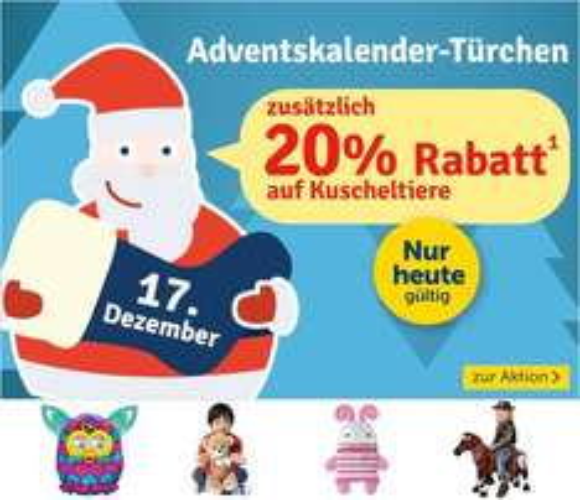 mytoys - 20% auf Kuscheltiere am 17.12.2014