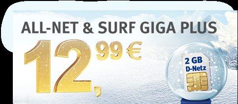 [7,99 € monatlich] ALL-NET & SURF 1 GB Internet-Flat / 300 Frei-Minuten oder SMS in alle dt. Netze