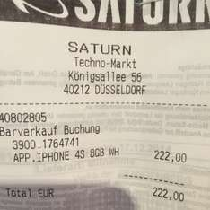 Iphone 4S 8GB (Saturn Düsseldorf)