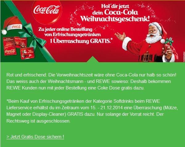 [Rewe Lieferservice] Coke Dose gratis zu jeder Bestellung und zusätzlich ein Geschenk bei Bestellung aus dem Bereich Softdrink