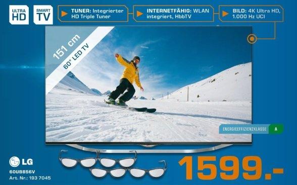 LG 60UB856V  - 60 Zoll 3D- Ultra HD LED-TV, UHD, 1.000 Hz, DVB-T/-C/-S/-S2, Smart TV für 1599,-€