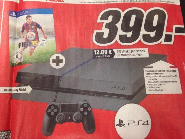 Playstation 4 + FIFA 15 Bundle, 399,- € @mediamarkt ONLINE