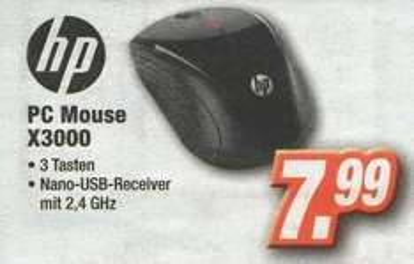 [lokal Expert-Technikmärkte] kabellose optische HP PC Mouse X3000 für 7,99 Euro (Idealo ab 10,85 Euro zzgl. Versand)