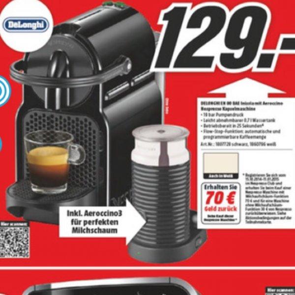 [Media Markt] DE-LONGHI Nespresso Inissia EN 80 + Aeroccino mit 70 Euro Cashback für eff. 59 Euro