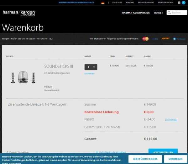 Harman-Kardon SoundSticks III – 2.1 Soundsystem für 115€ inkl. Versand bei harmankardon.de