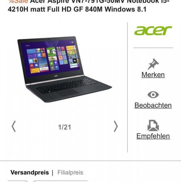 [Cyberport] Nur heute: Acer Aspire VN7-791G-50MV 17 Zoll Notebook (100€ unter Idealo)