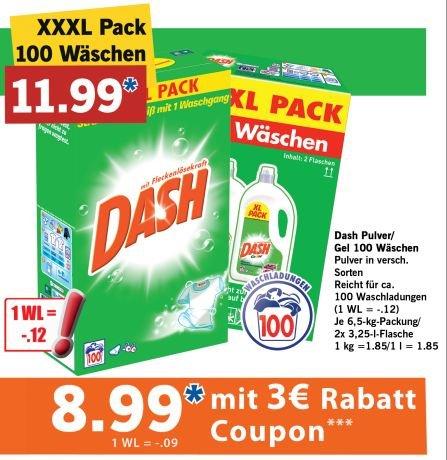 Dash XXXL Pack 100WL Gel oder Pulver 8,99 bei Lidl