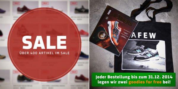 Sneaker SALE bis zu 50% off + diverse Freebies zu jeder Bestellung bis zum 31.12.2014