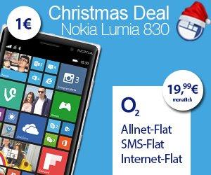 o2 Flat (19,99€/mtl) + Lumia 830 (1€) - WindowsUnited Deal bei handyflash